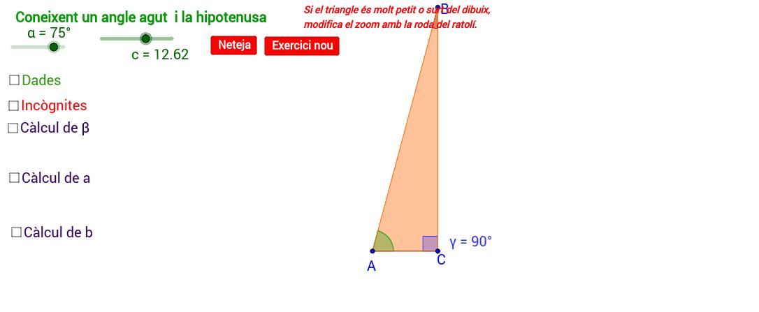 Resolució d'un triangle coneixent un angle agut i la hipotenusa: