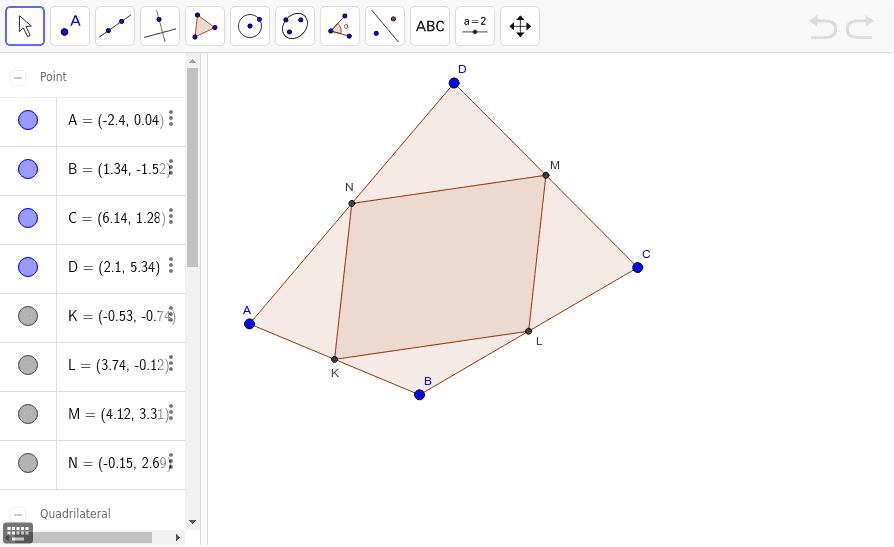 Zamerajte sa na skúmanie rôznych konvexných štvoruholníkov ABCD a preskúmajte vzťah medzi obsahmi štvoruholníkov ABCD a KLMN. Vyslovte tvrdenie.