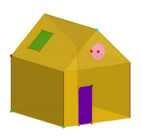 Un modelo sencillo con GeoGebra 3D de una casa. Podemos mirar de hacer otra al lado utilizando las simetrías y/o las transformaciones.
