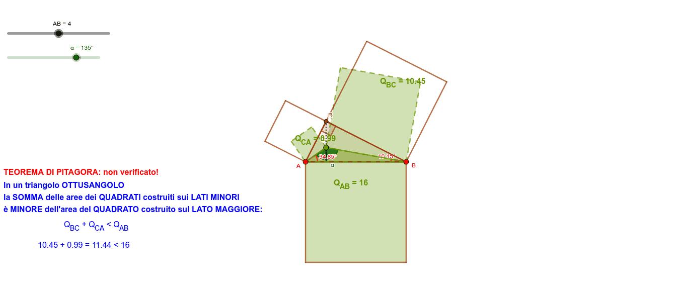 Classificazione dei triangoli rispetto agli angoli interni, usando il Teorema di Pitagora. Da La Matematica: Figure Piane B pag.39 di Emma Castelnuovo