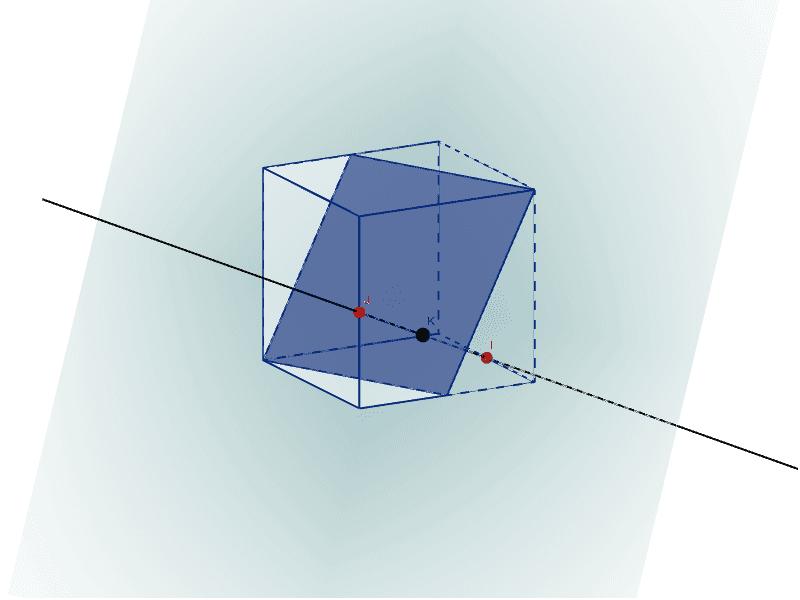 Prawy przycisk myszy - obracanie; I, J - położenie prostej względem sześcianu; K - przesuwanie płaszczyzny