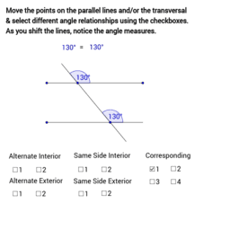 Angles Formed by Parallel Lines and a Transversal