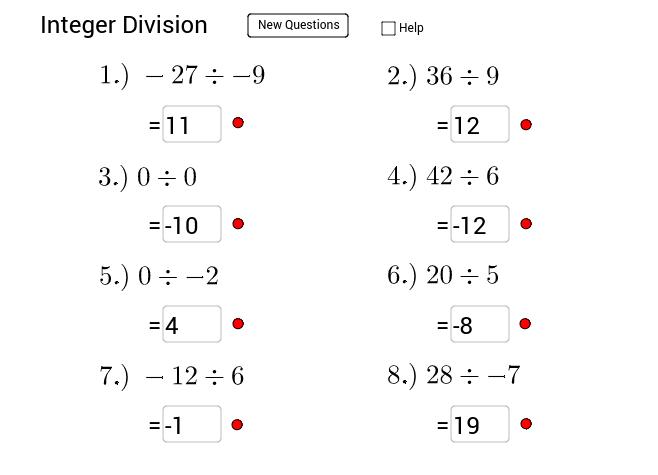 integer division Press Enter to start activity