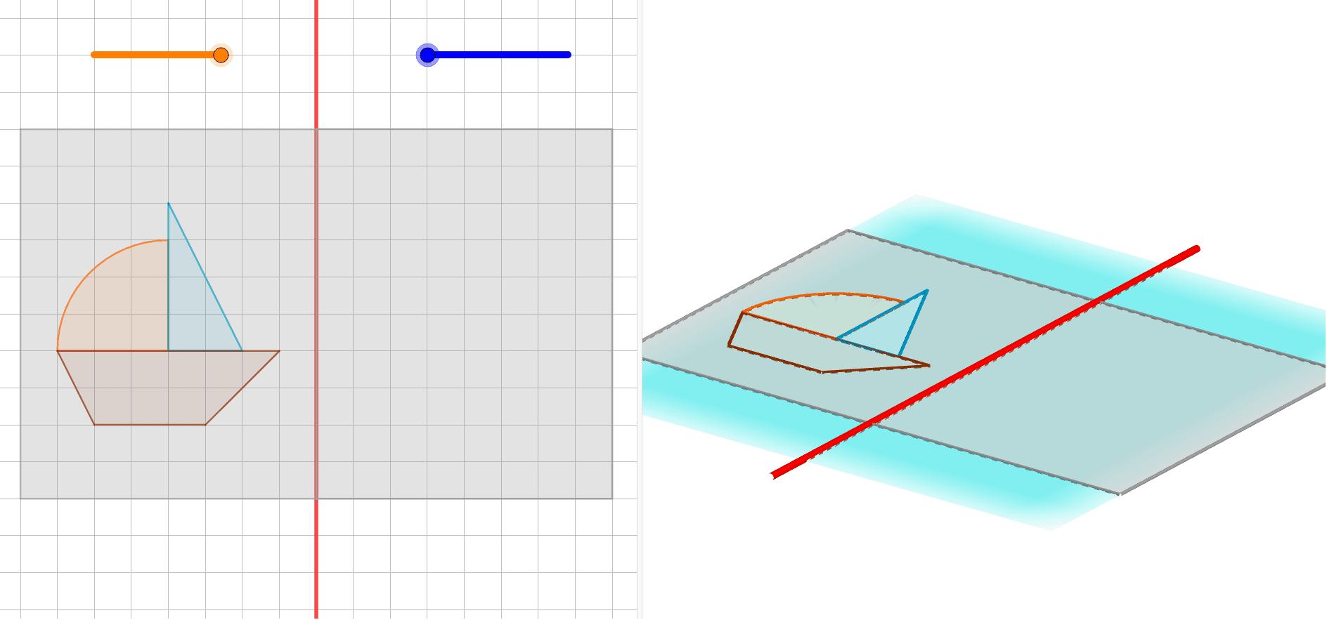 """1- Bouger le curseur orange vers la gauche pour plier la feuille de papier calque ; 2- Bouger le curseur bleu vers la droite pour décalquer la figure ; 3- Bouger le curseur orange vers la droite pour déplier la feuille de papier calque. Tapez """"Entrée"""" pour démarrer l'activité"""