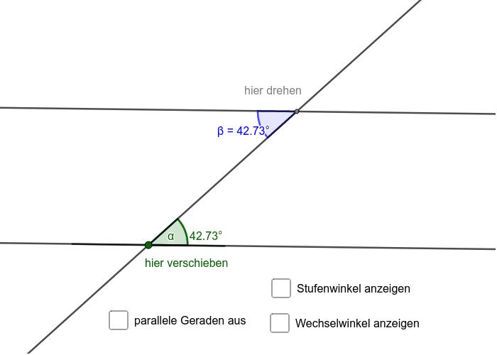 Wechselwinkel an geschnittenen Parallelen Drücke die Eingabetaste um die Aktivität zu starten