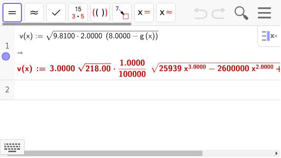 1. Definieren Sie die Geschwindigkeitsfunktion w(x) für die grüne Bahn an. Drücke die Eingabetaste um die Aktivität zu starten