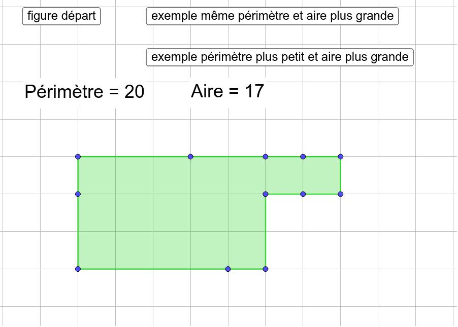 """Déplacer les points bleus pour obtenir la plus grande aire possible avec un périmètre de 20. Tapez """"Entrée"""" pour démarrer l'activité"""