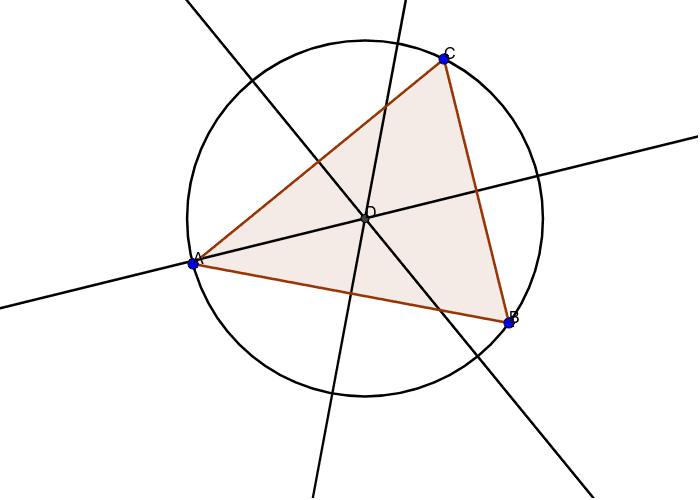 construcción del circuncentro y la circunferencia circunscrita de un triángulo