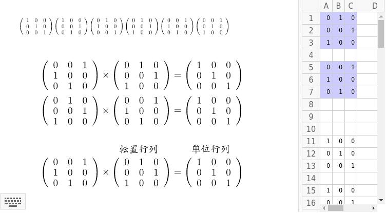 この6つの行列が群になることを、表を作って確かめよう。