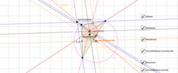 Triangle, mediatriu, mediana, circumferències,...