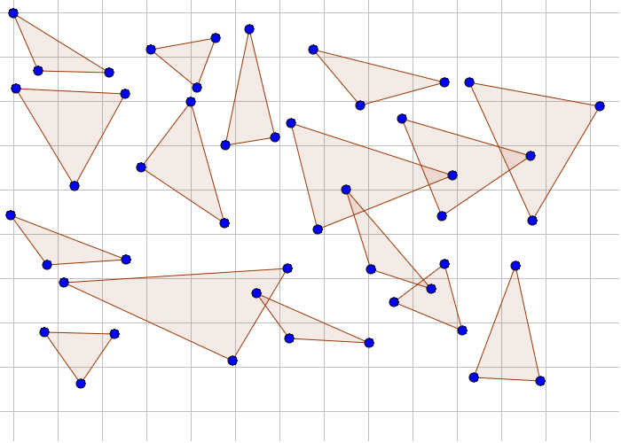 Byg nye polygoner ud af disse trekanter! Kan du bygge nogle regulære polygoner?