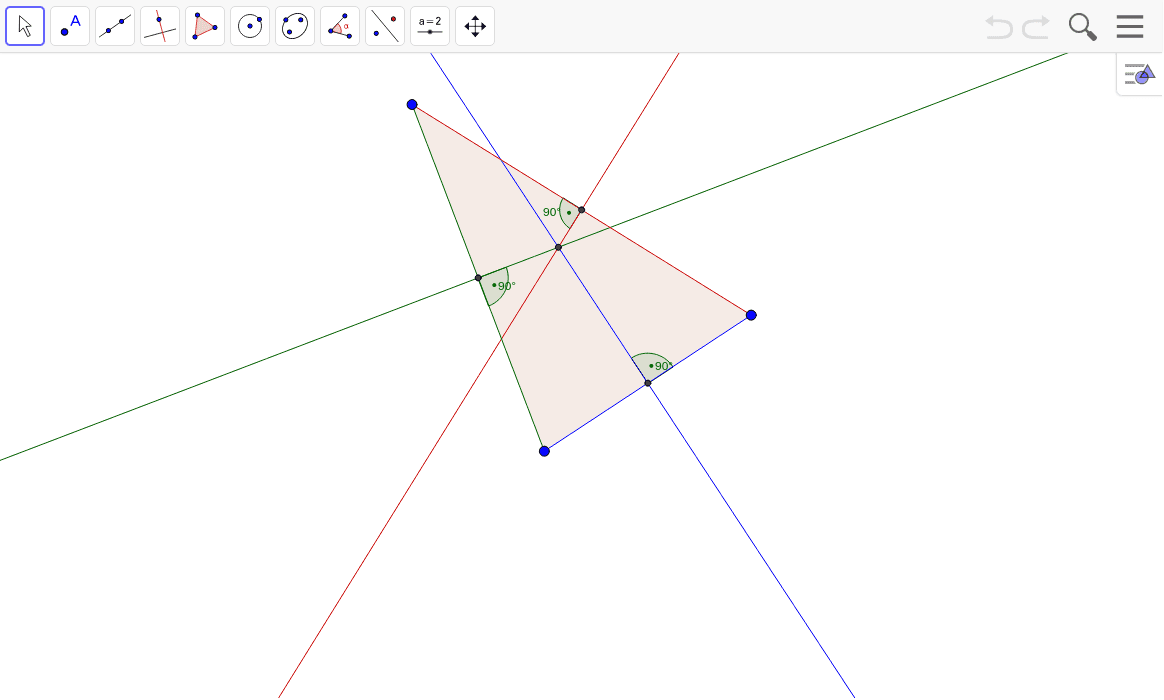 Drag the vertices of the triangle and observe each perpendicular bisector.