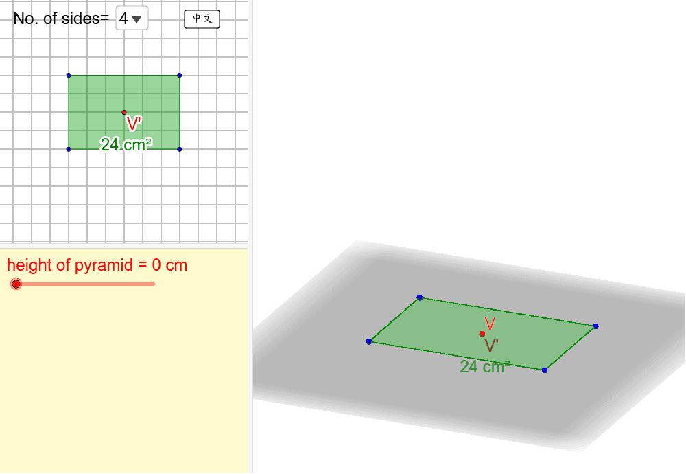 拖拉藍色點來改變底的形狀,然後建造錐體。你亦可拖拉紅色的V'點來改變頂點的位置。 按 Enter 鍵開始活動