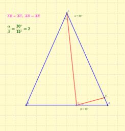 Ángulos entre triángulos isósceles