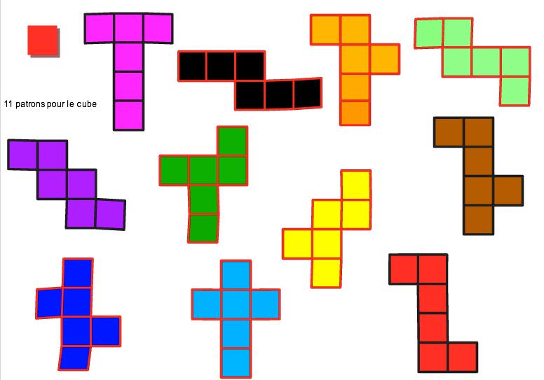 Les onze patrons du cube (différents et non superposables)