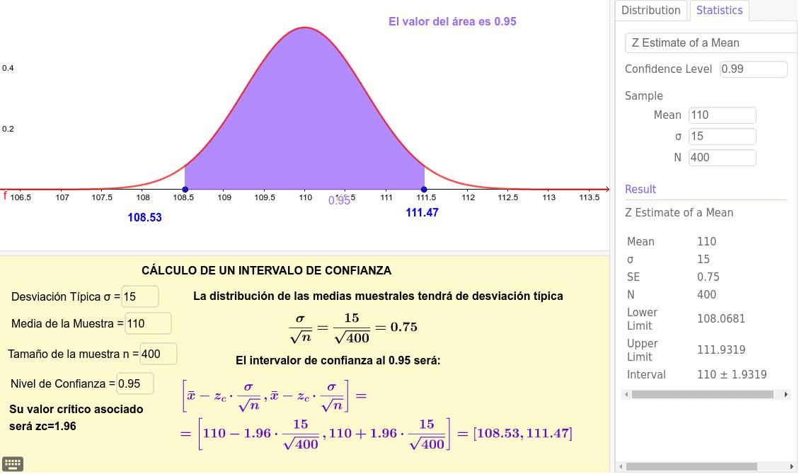 Cálculo de un intervalo de confianza, utilizando GeoGebra.