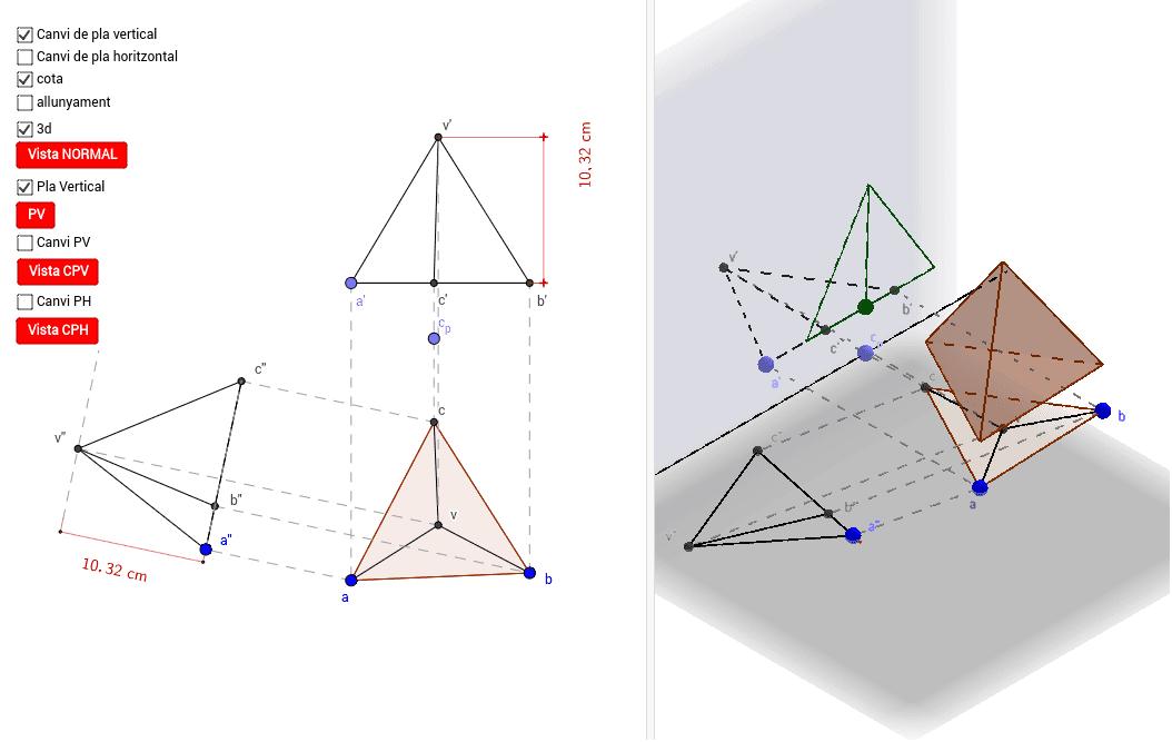 Canvi de pla en 3D, tant horitzontal com vertical d'un tetraedre.