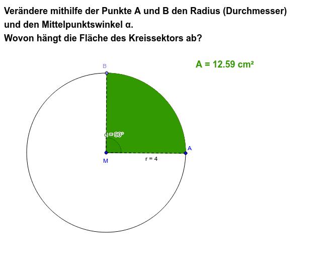 Kreissektor: Radius und Mittelpunktswinkel