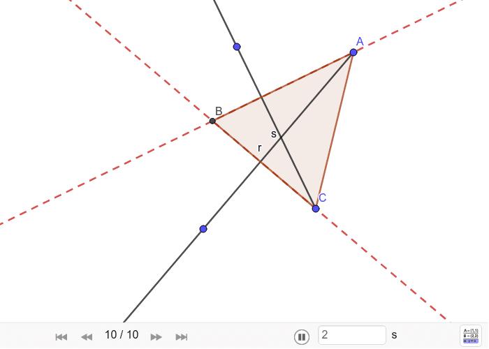 Triángulo a partir de dos alturas