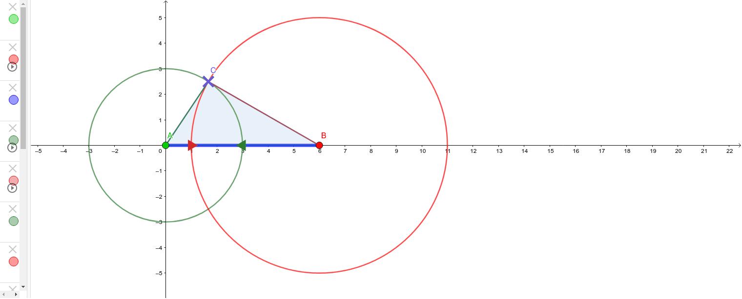 Cambia la dimensión del lado de la base arrastrando los puntos A y B y arrastra las flechas (verde y roja) para cambiar la dimensión de los otros dos lados