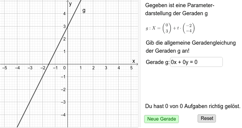 Geradentrainer 2: Parameterform - Gleichungsform