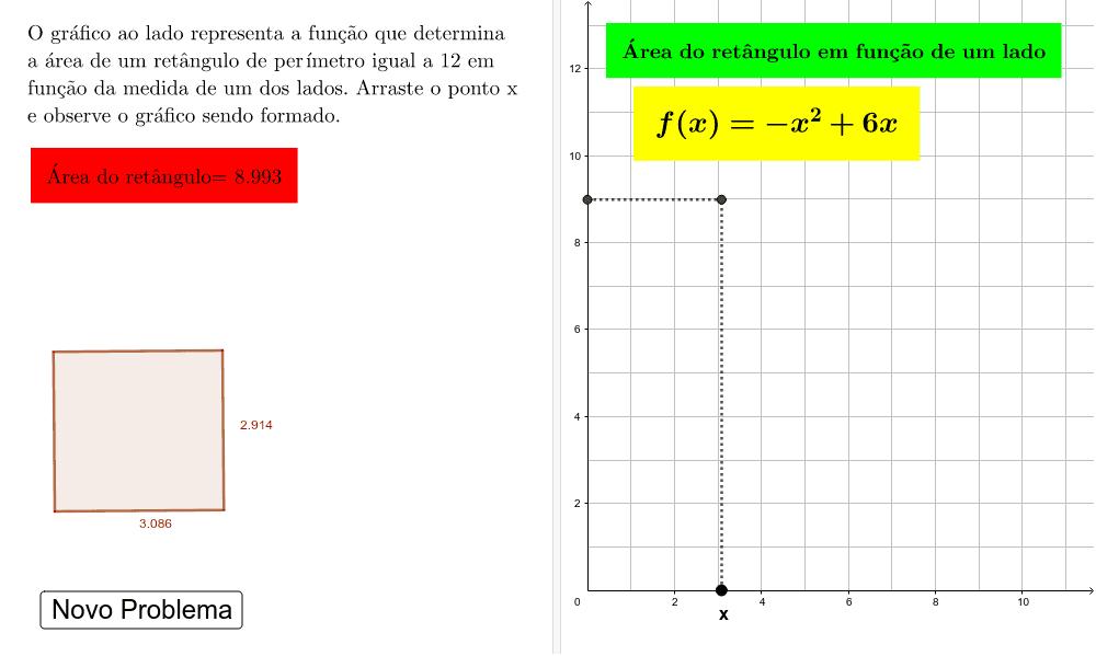 Função que determina a área de um retângulo com perímetro fixo Press Enter to start activity