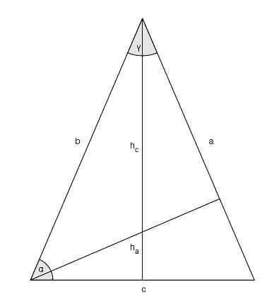 Gegeben ist das folgende gleichschenkelige Dreieck, in dem die Höhen auf die Seiten c und auf a eingezeichnet sind.