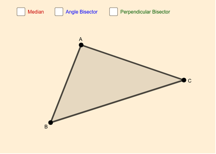 Select the boxes to see triangle median, angle bisector and perpendicular bisector line segments.  Move points A, B and C to change the shape of the triangle. Press Enter to start activity