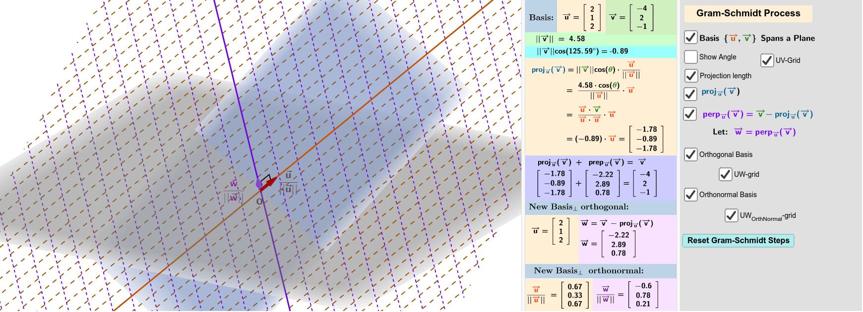 Gram-Schmidt Process - Applet
