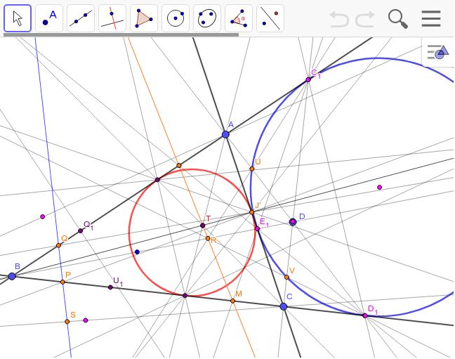 上の知見を元に傍接円と内接円の変形を試みた(Dを動かしてみよう)。この図では傍接円の極と内接円の極(ジェルゴンヌ点)は一致している様に見えるが、本当は微妙にずれている(上図)。 ワークシートを始めるにはEnter キーを押してください。