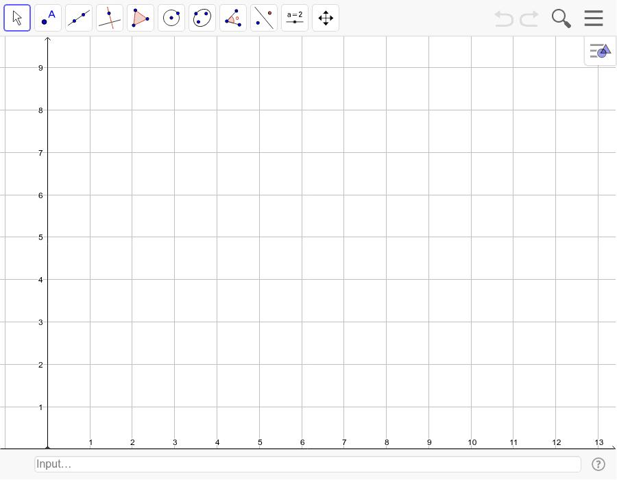 Disegna la retta r passante per A(4,2) e B(7,5). Trova sulla retta i punti C e D distanti 5 quadretti dal punto E(5,4). Traccia la perpendicolare s passante per E alla retta r. Premi Invio per avviare l'attività