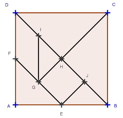[list][*]ABCD est un carré[/*][*]I est le milieu de [DH][/*][*]H est le milieu de [DB][/*][*]J est le milieu de [HB][/*][*]F est le milieu de [DA][/*][*]G est le milieu de [EF][/*][*]E est le milieu de [AB][/*][/list]