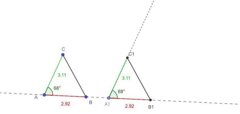 Dos triángulos son congruentes si tienen dos lados iguales y el ángulo comprendido entre ellos también igual.