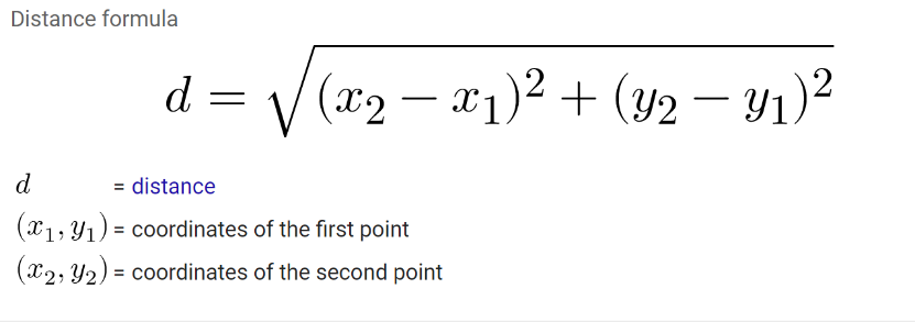 Write the distance formula down