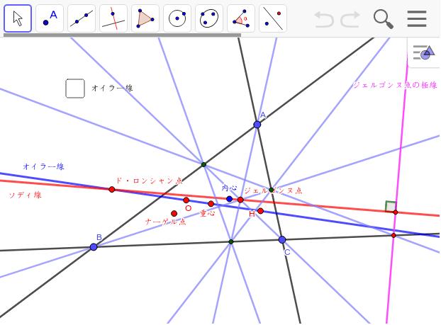 (1) 内心と重心とナーゲル点を結んでみよう。(2) 頂点ABCと垂心Hと内心を通る二次曲線を作図してみよう。(3) ではオイラー線と直交する極線は? ワークシートを始めるにはEnter キーを押してください。