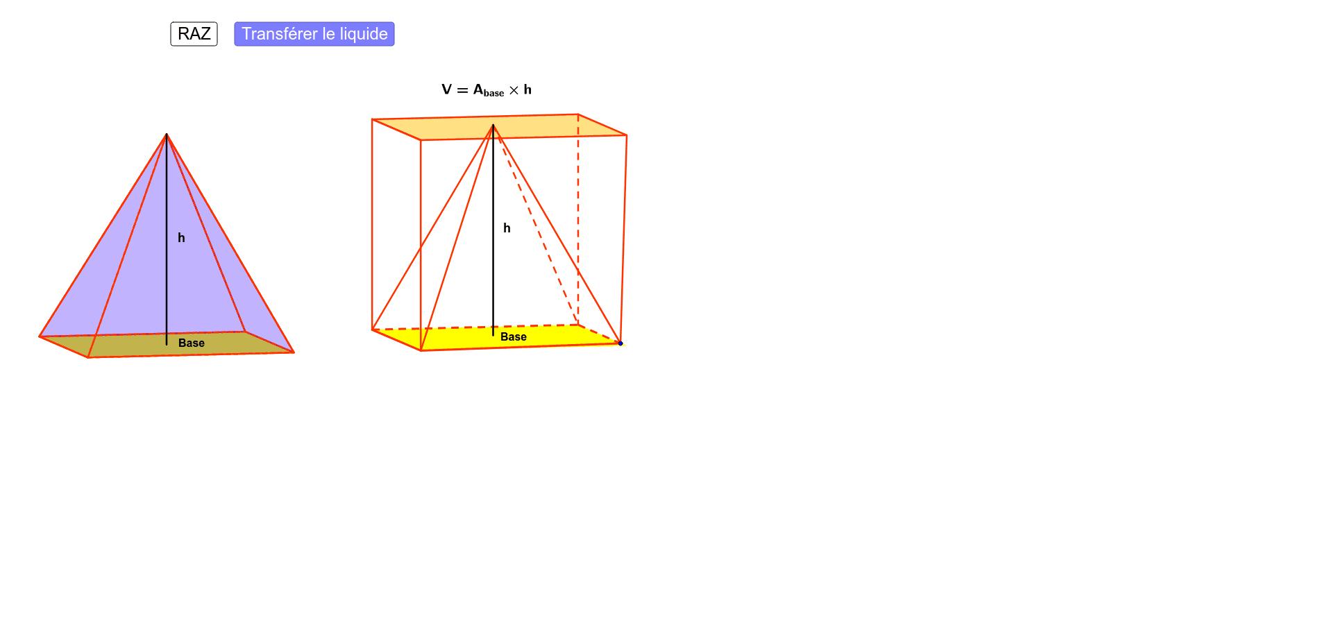 """Document pour l'activité sur le volume de la pyramide Tapez """"Entrée"""" pour démarrer l'activité"""