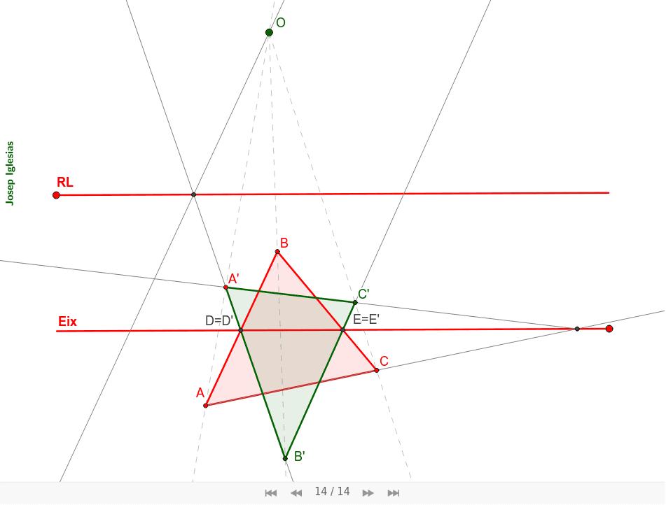 Troba el triangle homòleg sabent la RL2, l'eix d'homologia i un punt homòleg A'.