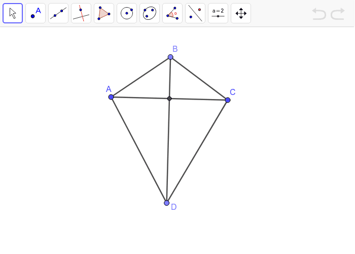 Kite with diagonals