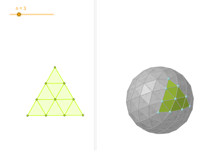 Caso general para una esfera geodésica basada en el icosaedro Presiona Intro para comenzar la actividad