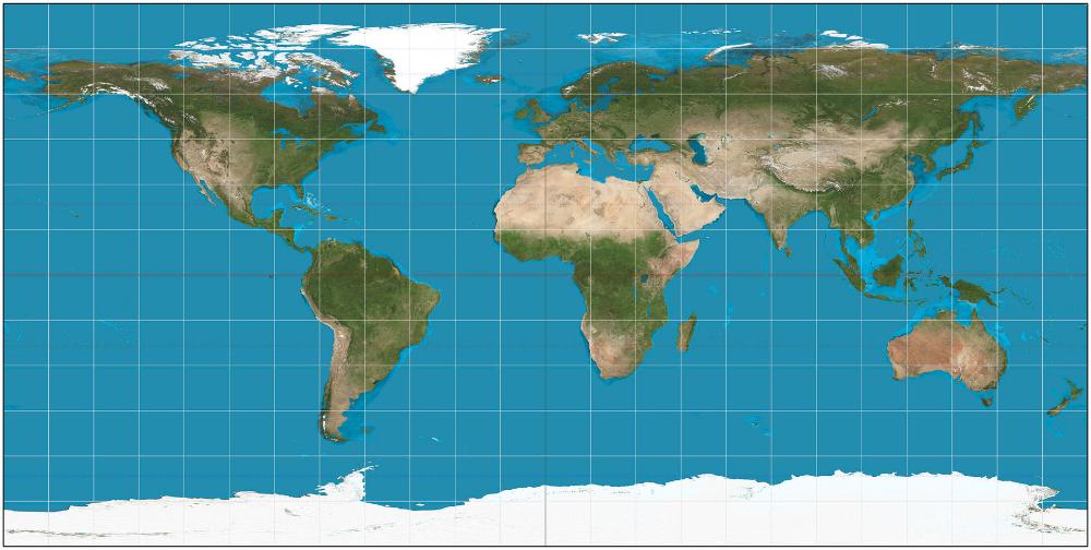 equidistante cilindrische wereldkaart