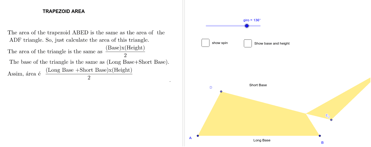 "Formula of the Trapezoid AREA - * (set the ""spin"" bar at 180º) Press Enter to start activity"