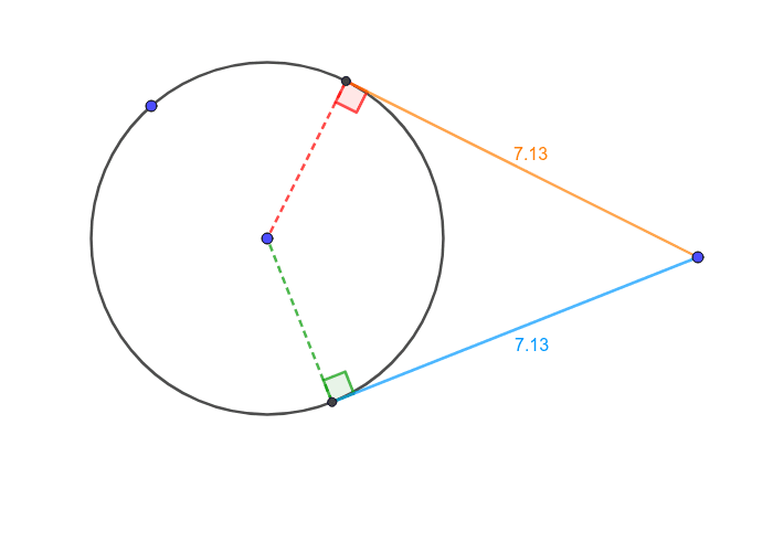 Two different tangents drawn from an external point to the circle have equal length. Press Enter to start activity