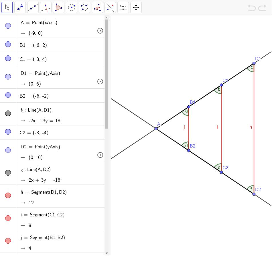 Comprova el teorema de Thales i calcula la raó de proporcionalitat i que els angles compleixen que  a=b=c , i que d=e=f Premeu Enter per iniciar l'activitat