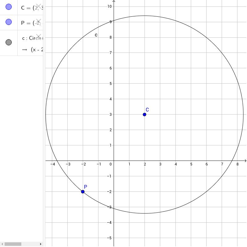 Noto il centro C e un punto di passaggio P costruiamo la circonferenza con il comando di geogebra Press Enter to start activity