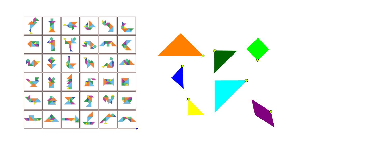 1. Realiza una de las figuras que observas en la imagen, con los polígonos del tangram Presiona Intro para comenzar la actividad