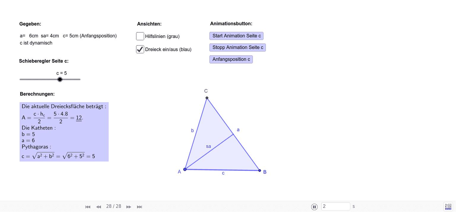 Auftrag 12, a=6cm, c=5cm, sa=4cm, c=dynamisch
