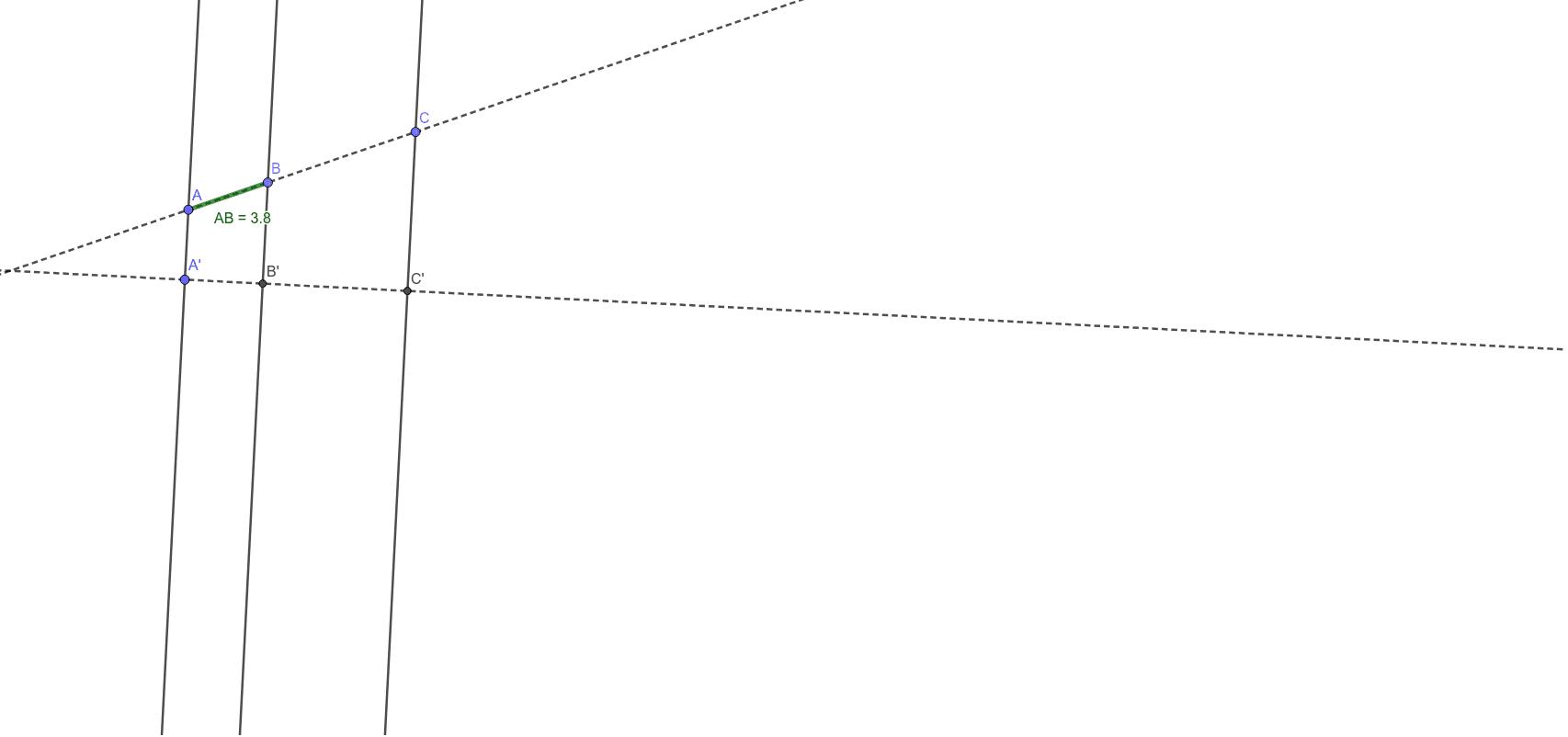 Comprobación del teorema de Tales Press Enter to start activity