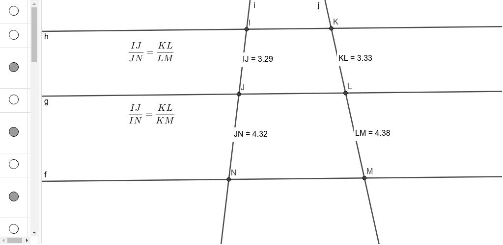 O teorema de Tales ressalta as relações de proporção entre os segmentos determinados sobre retas paralelas pela intersecção com transversais. Neste aplet, você pode observar como as razões entre alguns dos segmentos se mantém constantes.