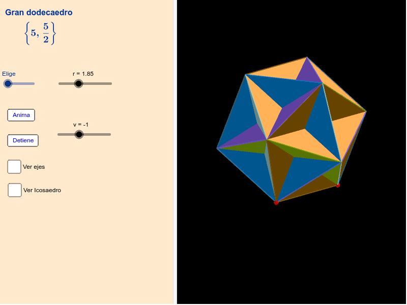 Gran dodecaedro y pequeño dodecaedro estrellado Presiona Intro para comenzar la actividad