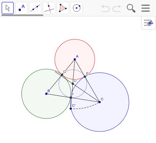 Dは△ABCの内心。内接円と辺の接する所が円の接点である。 ワークシートを始めるにはEnter キーを押してください。